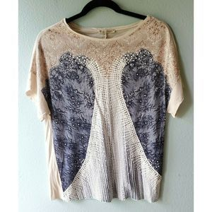 ZARA Basic Collection M Beige Printed Tee